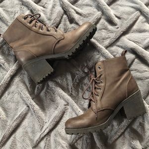 H&M Brown Heeled Combat Boots | Size 9